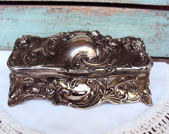 Vintage Art Nouveau Silver Plate Jewelry Box Repousse Jewelry Casket Baroque Ornate Roses Vines Design Silverplated Red Velvet Hinged Box