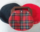 Vintage Bermuda Red Plaid Purse Handbag with Two Additional Covers 1960's