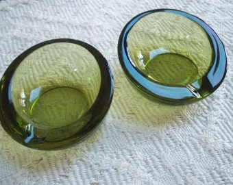 Vintage Collectible Tobacciana Cigarette Glass Orb Green Ashtrays Two Ashtray Set