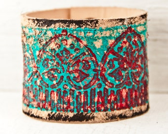 Turquoise Jewelry Hand Painted Bracelet Cuffs - Teal Blue Green Bracelets - Southwest Leather Wristband Cuffs - Summer Trends
