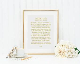 St. Therese of Lisieux Morning Prayer Print. Christian Wall Art Print. Metallic Prayer. A morning prayer written by St. Therese.
