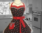 Woman's handmade full size apron in Cherries theme, kitchy, retro, pretty, Bridal gifts, gifts for her, hostess, kitchen