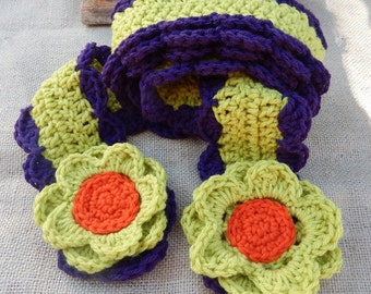 Crocheted Scarf with Flowers  ~  Green and Purple Scarf with Flowers  ~  Crocheted Scarf  ~  Crocheted Winter Scarf  ~  Spring Scarf