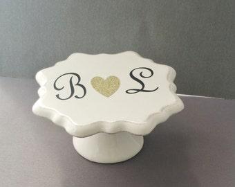 Custom Cupcake Pedestal, cake plate, personalized , custom, cupcake plate, name plate
