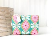 Pink and Teal Floral Coin Purse Gift Card Credit Card Holder Floral Zipper Pouch Floral Change Purse