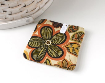 Retro Brown Floral Coin Purse Floral Change Purse Floral Gift Card Holder