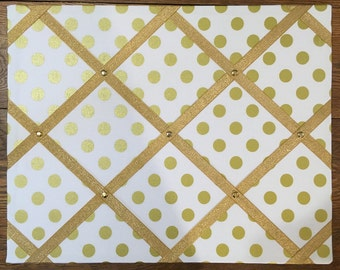 Gold and White Polka Dot Memo Board - Your choice of standard french memo board, cork board or magnetic board - FREE Shipping in US