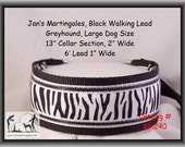 Jan's Martingales, Black Walking Lead, Dog Collar and Lead Combination, Greyhound, Large Dog Size, Blk240