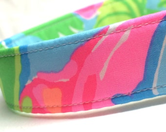 Lilly Pulitzer Fabric Dog Collar Girl So A Peeling Pink Blue Green Boy
