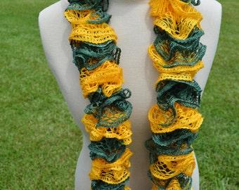 Green and Gold Ruffle Scarf, Ruffle Scarf, Crochet Ruffle Scarf, Crochet Scarf