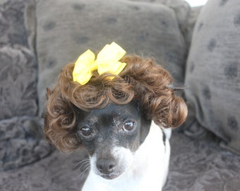 Pet   wig  for dog or cat with yellow bow