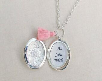 Princess Bride Locket Necklace Quote Tassel Bridal Customized Jewelry Jewellery Two Cheeky Monkeys Feminine Typography Personalised Handmade