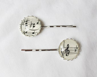 Music Hair Grip Set Bobby Pin Sheet Music Vintage Silver Bridal Wedding Musician Treble Clef Bass Clef Muso Upcycled Two Cheeky Monkeys