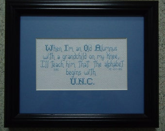 UNC Alumnus - Cross Stitch Picture - Wall Decor