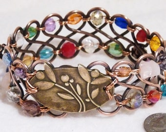 Bracelet, Bangle, Copper, Crystals, Wire Wrapped  4709