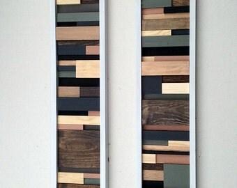 Wall Art - Wood Sculpture - Wood Wall Art - Abstract Wall Art - Painting on Wood Set of 2