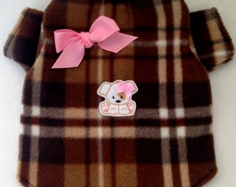 Brown Plaid Puppy Cozy Fleece Dog Shirt Size XXXS through Medium by Doogie Couture