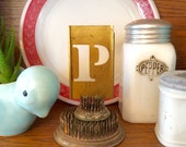 Vintage brass uppercase letter stencil, 3 inch, altered art, industrial, letter P
