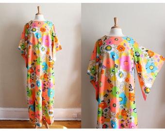 1960s Kaftan / Vintage Neon Floral Caftan Maxi Dress / 60s Dela-Ann Loungewear
