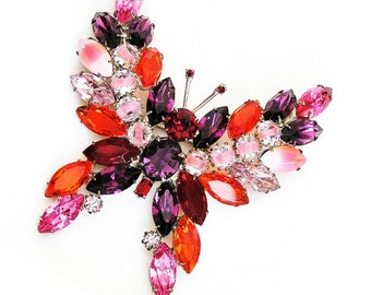 KJL Amethyst Pink and Red Large Butterfly Brooch