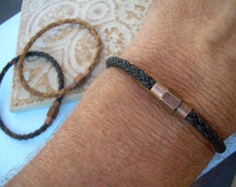 Copper Toned Brass Magnetic Clasp Leather Bracelet, Mens Jewelry, Mens Bracelet, Leather Bracelet, Mens Gift, Groomsmen Gift, Boyfriend Gift
