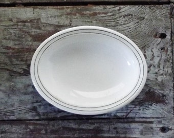 Vintage Ironstone Soap Dish Oval Dish White with Green Stripes