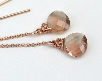 Oregon Sunstone Threader Earrings | Pink Champagne Heart Briolettes | Wire Wrapped 14k Gold Rose Fill Cahin | Small Dangles | Ready to Ship