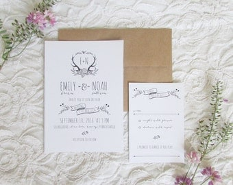 Boho Chic Wedding Invitation and RSVP Printable