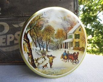 Vintage Currier and Ives Winter Scene Cookie Tin