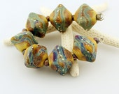 Lampwork Glass Bead Set (7), Organic Rustic Chunky Crystal Bicone  Brown Blue Green Purple Silver 'Autumn Color'