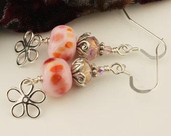 Pink Lampwork Bead Earrings Sterling Silver Flower- Beaded Jewelry- 'Sassy'
