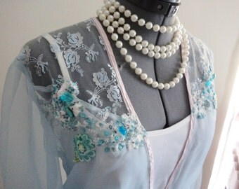 evening jacket, blue lace jacket, EXQUISITE evening shrug, blue lace shrug, hand made, applique beadwork, pale blue shrug, boho clothing