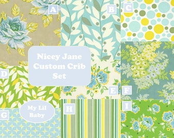 5 Piece Baby Girl Crib Set Nicey Jane in Moss by Heather Bailey Collection Baby Bedding Set