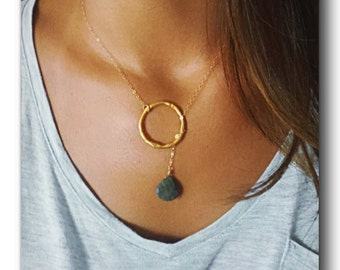 Lariat, wrap LABRADORITE blue/grey briolette with gold filled chain asymmetrical necklace, bridesmaids