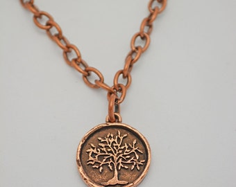 Copper Tree Necklace. Earthy Nature Jewelry. Copper Pendant of a Tree on Copper Chain with Toggle Clasp. One of a Kid Handcrafted Jewelry