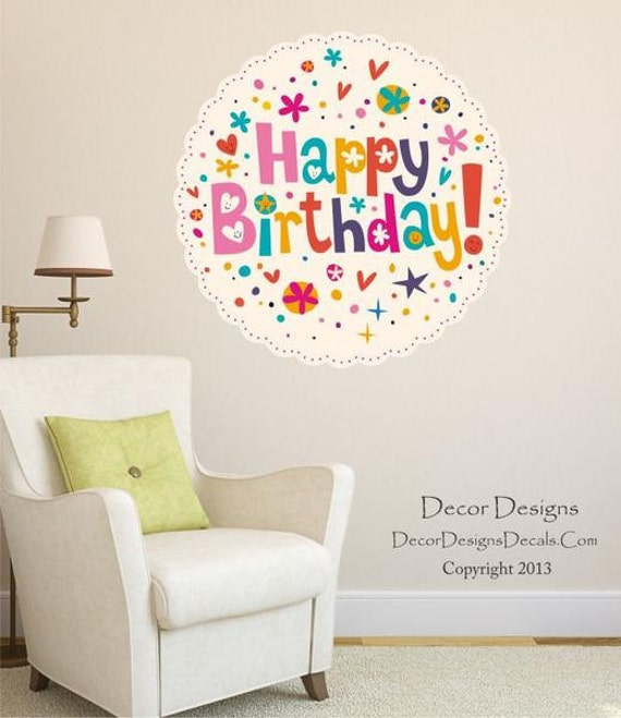 Simple Birthday Decoration On Wall : Happy birthday wall decal sticker