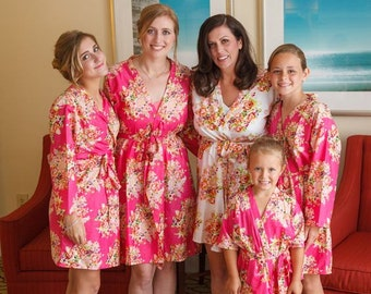 Fuchsia Floral Posy Bridesmaids Robe Sets | Kimono Robes, Wraps, Perfect bridesmaids gift, getting ready robes, Bridal Shower, Floral Robes