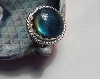 Round Labradorite and Sterling Ring