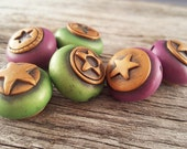 Berry Lime Star Polymer Clay Beads