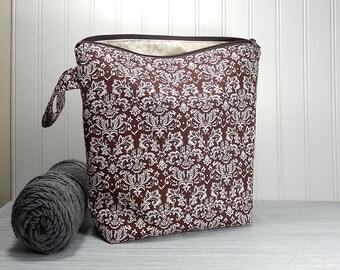 Knitting bag, zipper pouch, crochet project bag, knitters gift, knitting zipper pouch, large knitting bag, made in Maine