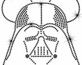 "8"" Star Wars Darth Vader Mickey iron on rhinestone transfer"