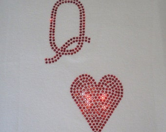 """6.8"""" tall Queen of Hearts iron on rhinestone transfer for costume"""