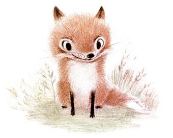 signed Little Fox Print 5x7