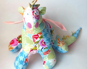 "Stuffed Animal Dragon Toy 10"" tall, 22"" wide in Pink, Blue, Green, Peach, White, Red and Fuchsia patchwork Flannel Fabric, Baby Friendly Toy"