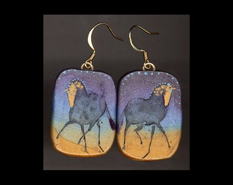Horse Jewelry: Gold Faced Grey Horses Earrings. Ink Drawing on Polymer Clay. Grey, Violet, Aqua, Gold, and Green 4160