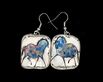 Horse Jewelry: Party Pony with Dapples Earrings. Ink Drawing on Polymer Clay. Pink, Gold, Blue, Black 3985