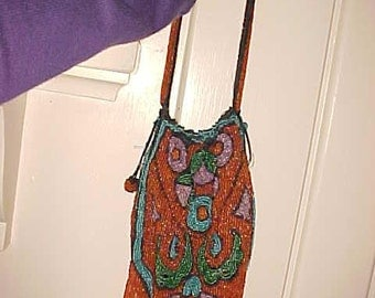 Vintage ART DECO Bag/Purse Glass Beads Orange/Purple/ Drawstring with Mirror For Bead workr