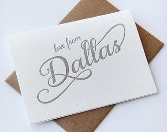 Letterpress Greeting card - Regional Love from Dallas