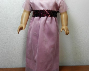 BK Mauve Pink Long Satin Dress with Net Lace Overskirt and Maroon Sequin Trim - 18 Inch Doll Clothes fits American Girl