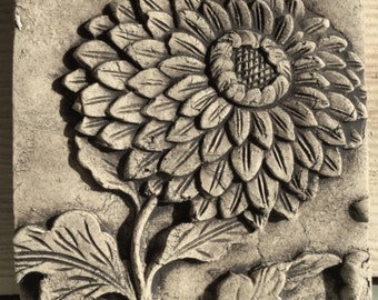 Flower Chrysanthemum 4x4 ceramic porcelain relief tile
